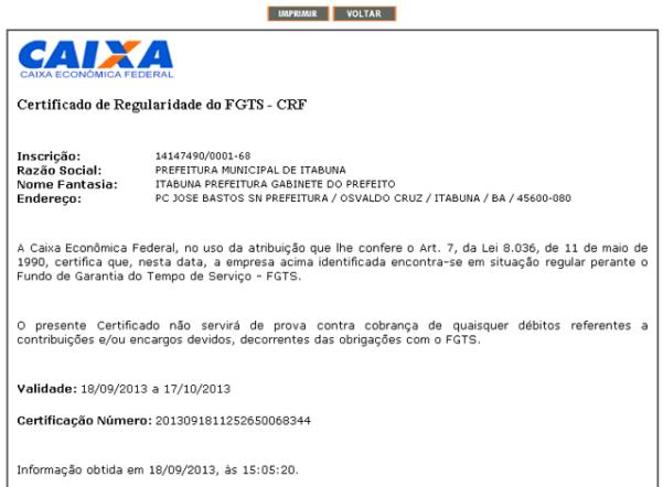 Exemplo de CND FGTS. (Foto: Divulgação)